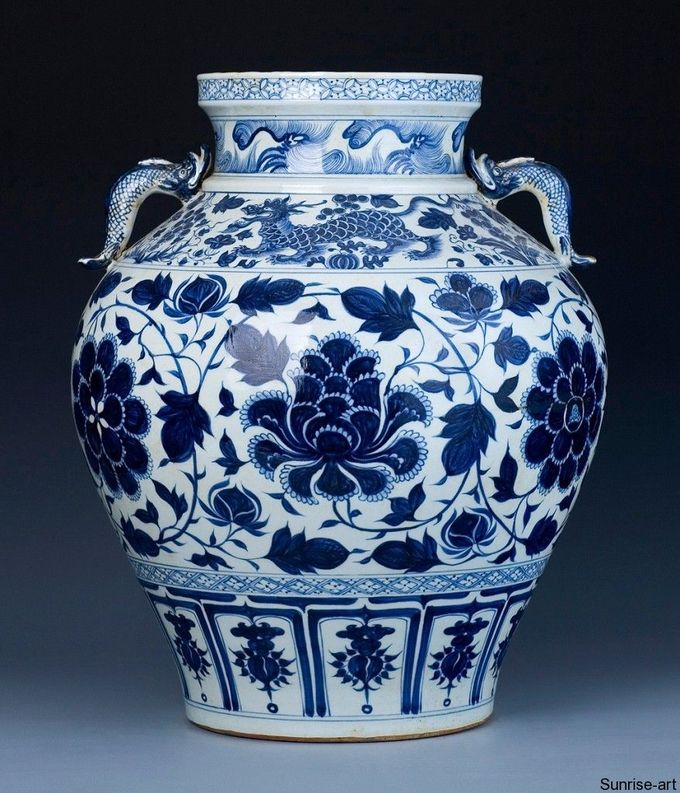 A Magnificent Early Blue And White Baluster Jar. Yuan Dynasty, mid 14th century   Sunrise Art - Fine Chinese Arts Gallery