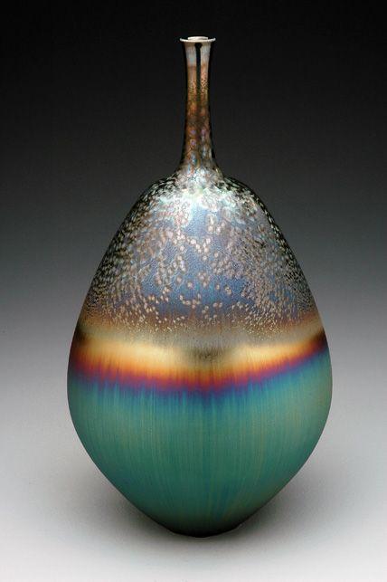 Vase with three glazes by Hideaki Miyamura, Japan 宮村 秀明
