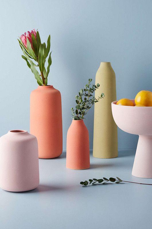 colorful matte flower vases