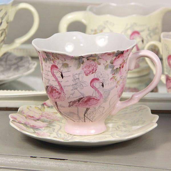 Flamingo Tea Cup And Saucer