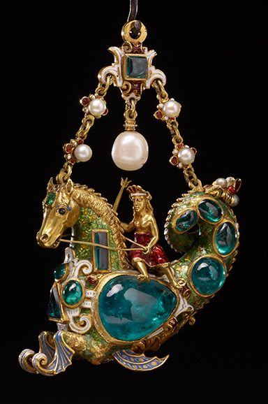 Hippocamp pendant. Enamelled gold jewel set with emeralds and pearls. Probably French, early 19th century. WB.156.