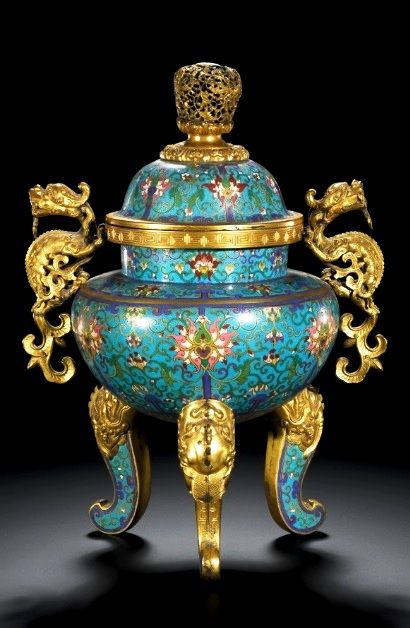Imperial cloisonné Tripod Censer and Cover of globular body, on scrolled makara legs, twin scrolled chilong handles and domed cover surmounted by a pierced finial. Qing Dynasty, Qianlong Period.