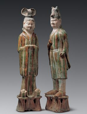 Civilian Official and Military Officer, Tang Dynasty (618–907 CE). Excavated 1965 at Yejiabao, Gansu Province. Three-color lead-glazed (sancai) earthenware, height 133.5 cm and 135.5 cm. Gansu Provincial Museum, Lanzhou.
