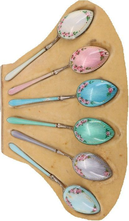 Fabulous Cased Norwegian Enamelled Sterling Silver 925 Spoons. Hallmarked for 1917. Henry James Hulbert is actually the importer, known for bringing in Norwegian made products of this type. Stunning condition, just the one minor mark as shown in the photo's. Length of spoons 100mm. Complete with original case. Just 100 years old.