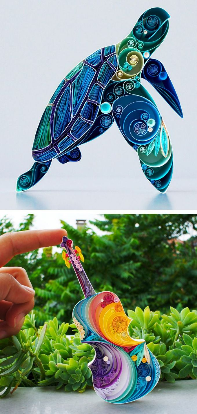 Sena Runa twists, folds, and stacks layers of thick paper to create dynamic paper sculptures. The Turkish artist uses a wide range of hues to create chromatic elephants with a rainbow of shades, or work all of the brilliant blues of the ocean into a single sea turtle.
