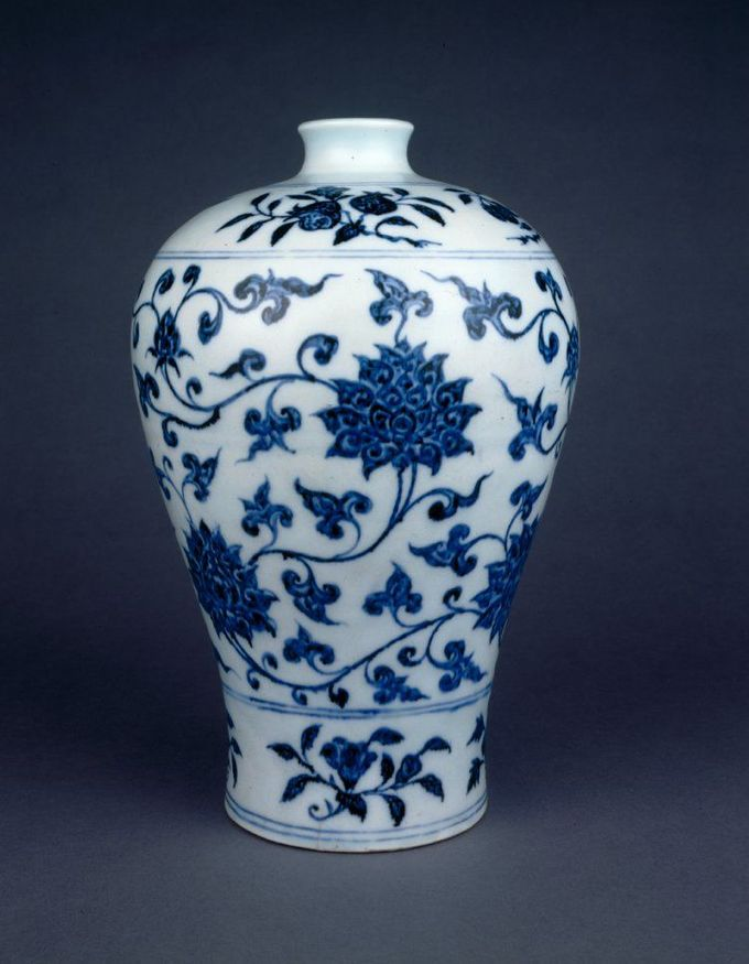 Porcelain vase of meiping form. Underglaze blue with wide band of scrolling…