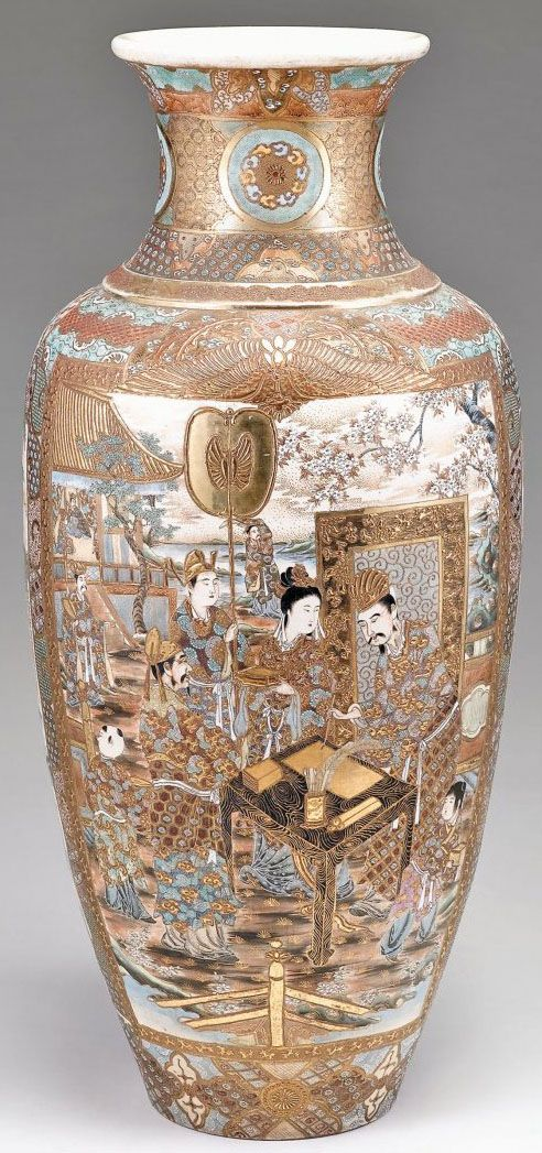 A large Japanese Satsuma floor vase, baluster form, enameled gold, green and white to show figures to a winter landscape, gold diaper and birds in low relief to neck, Japan, circa 1901-1925