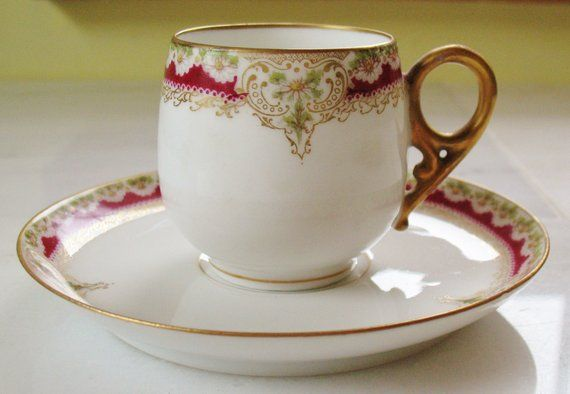 MULTIPLES AVAILABLE Up for sale is this nice set of 2 pieces of Limoges china tableware. Each set includes a demitasse cup and saucer and have a beautifully designed pattern and pretty, ornate colors. Each are marked Limoges LRL Each item measures approx. 7 1/2 x 3 and are in great, pre-owned
