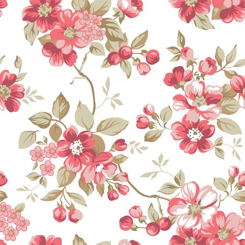Clair floral seamless pattern vector 02