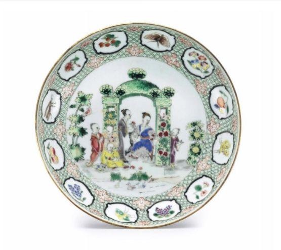 A famille rose Pronk 'Arbor' saucer dish, circa 1738-40.