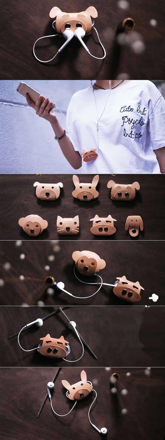 Leather Animal Face Headphone Earphone Wrap Winder Cord Organizer