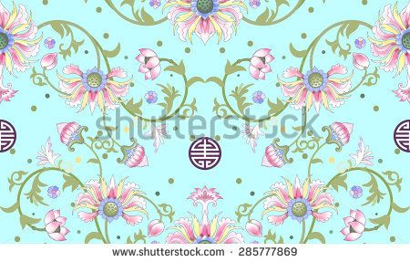 Seamless vector background. Beautiful floral pattern. Lotus flowers and leaves are painted by watercolor. Imitation of chinese porcelain painting. Hand drawing.