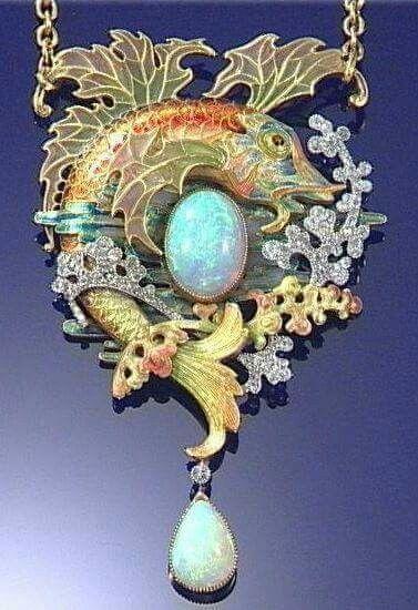 WAGNER RAOULDIAZ ENAMELLED GOLD OPAL AND DIAMOND PENDANT CIRCA 1903