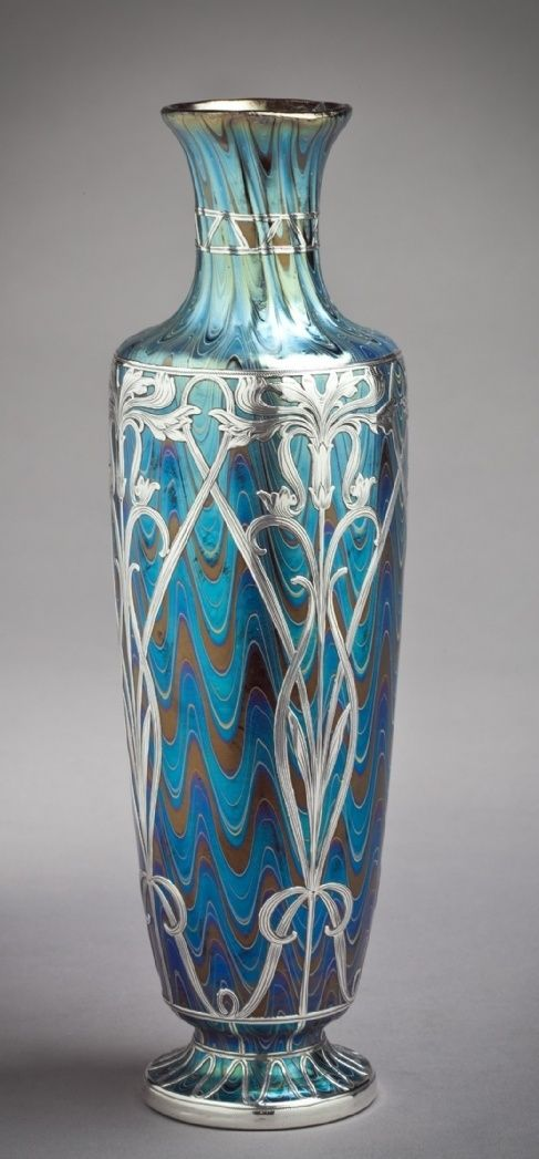 Galvanic Silver Overlay on Antique Art Glass - Bohemian American