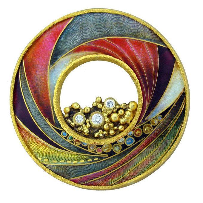 MARILYN DRUIN Gold Cloissonne Enamel Diamond Brooch Pendant