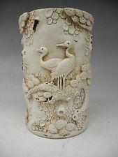Beautiful Chinese White Glaze Carving  Pine Tree crane Porcelain Brush pot Mark