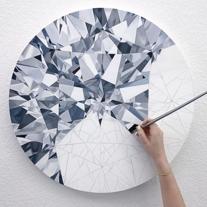how to draw a diamond and its facets