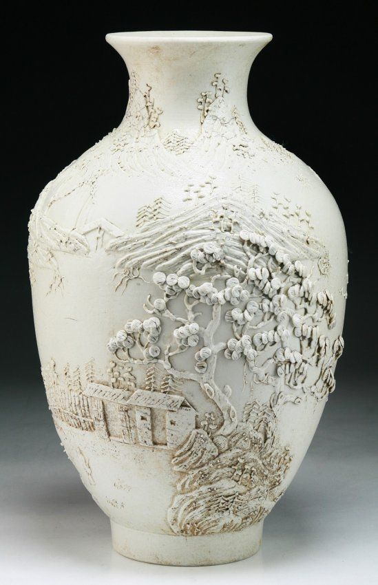 A Chinese Antique White Glazed Porcelain Vase signed 'Wang Bingrong' on the base and of Minguo Period; Size: H: 13-3/4