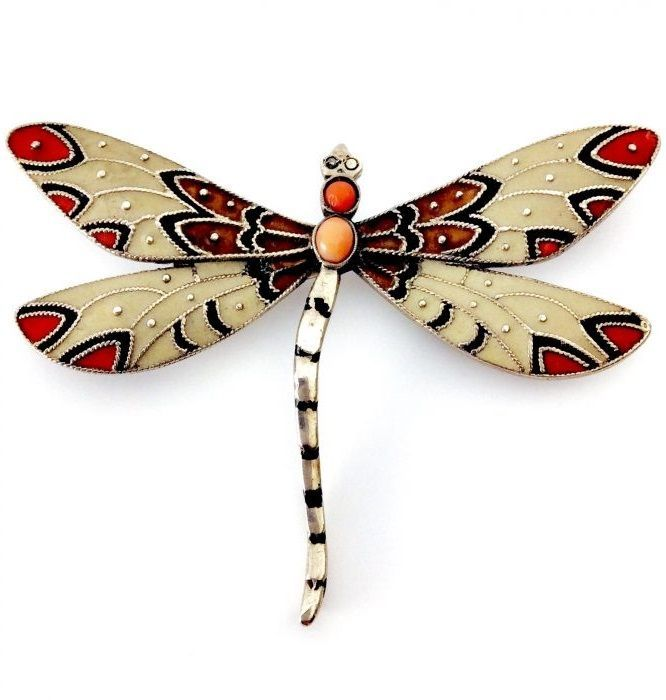 Theodor Fahrner - An Art Deco silver, enamel and coral Dragonfly brooch, circa 1930. Marked: TF 935. #Fahrner #ArtDeco #brooch