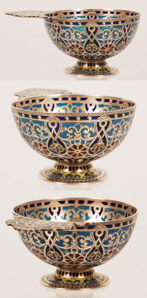 A Russian silver gilt and plique-a-jour enamel charka, Moscow, circa 1890