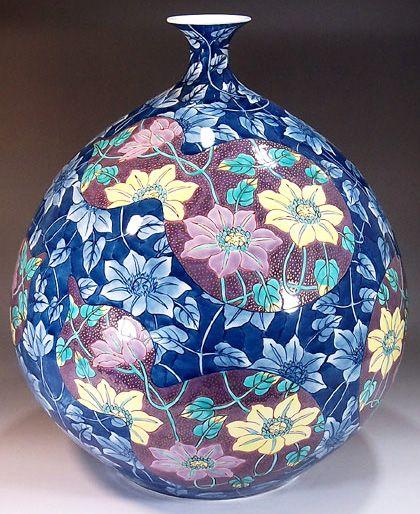 Fujii Kinsai Arita Japan - Somenishiki Kinsai Hyoutan wari Tessen Vase 35.00 cm