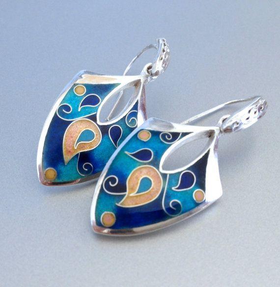 Earrings cloisonne enamel silver by agoraart on Etsy