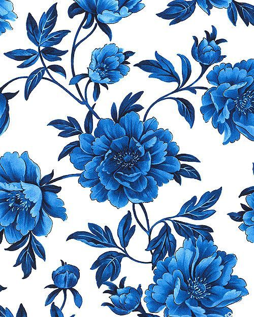 True Blue - Porcelain Peony - White
