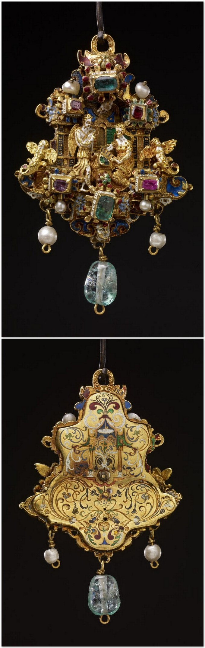 Pendant jewel; gold; centre: Annunciation, figures in full relief between two pilasters, at bases of which are two cherubs as terminal figures; emerald and two rubies above; similar arrangement below, in enamelled settings; background chased with scrolls and coated with opaque and translucent enamels; pendant beryl and two pearls; back plate engraved with floral scrolls, etc.; chalice at bottom, all filled with coloured enamels. Germany 1551-1575.