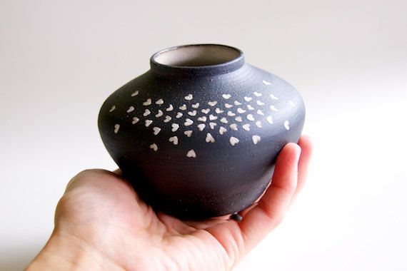Ceramic Vase in Black and White Hearts by RossLab on Etsy