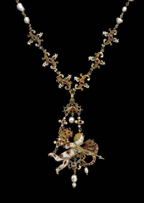 Neckpiece: Flying Cupid on a Chain Ca. 1600  Pearl, diamond, ruby, enamel, gold