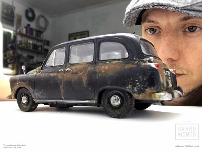 Abandoned Miniature Automotive  (Vintage London Black Cab - 1/24 Scale)Aoshima's model represents a 1948–1959 Austin FX4._______________________________________________________________________