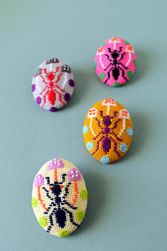 Kogin Embroidered Ant Brooches
