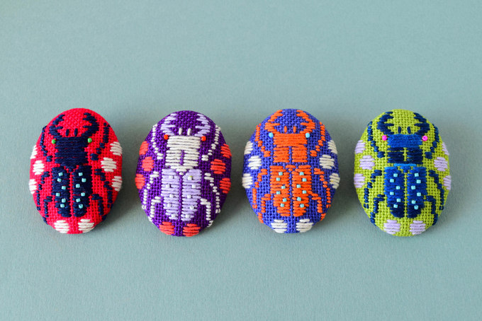 Kogin Embroidered Stag Beetle Brooches