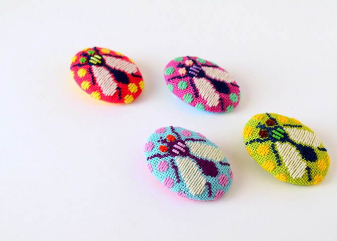 Kogin Embroidered Fly Brooches