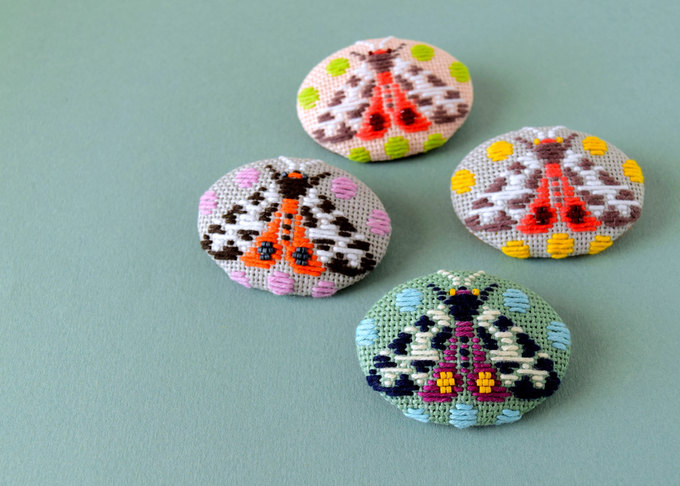 Kogin Embroidered Moth Brooches