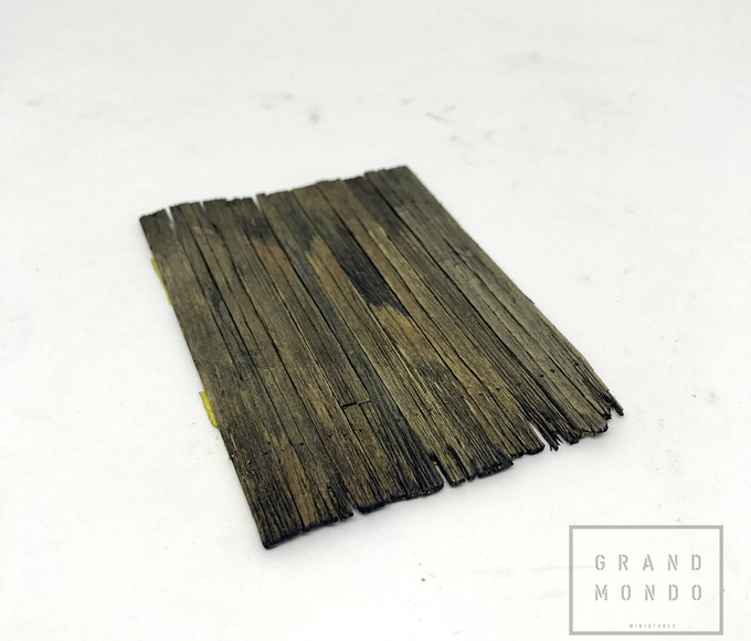 Step 2:Stain the coffee stirrer sticks. By dipping them in indian ink solution or use some oil washs to achieve the stain desired.