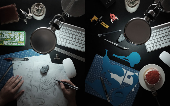 Initial sketches, work in progress.Create your Future, 25.5 in X 11 in paper cut illustration.