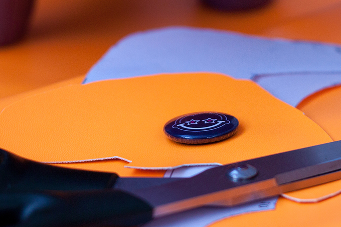 12. At this time we'll use orange PU leather.