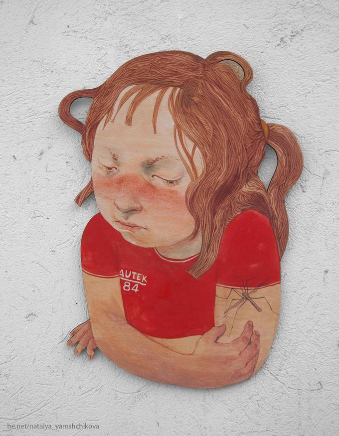My childhood superstitions.Мои детские суеверия.Painting on plywood.Роспись по фанере.1.One hundred mosquito bites will lead you to death.1. Сто укусов комаров - это смерть.