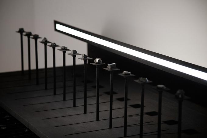 Workspace IV, 114 x 65 x 118cm, walnut wood, black ink, light, coal, 2016