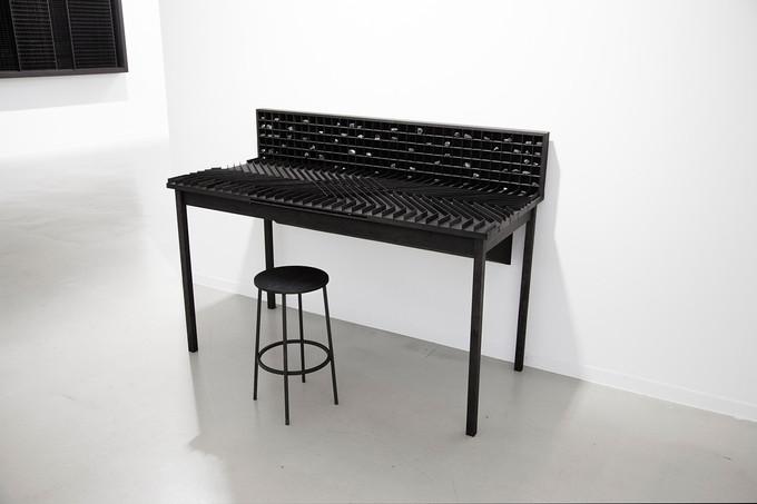 Workspace III, 114 x 65 x 118cm, walnut wood, black ink, light, coal, 2016