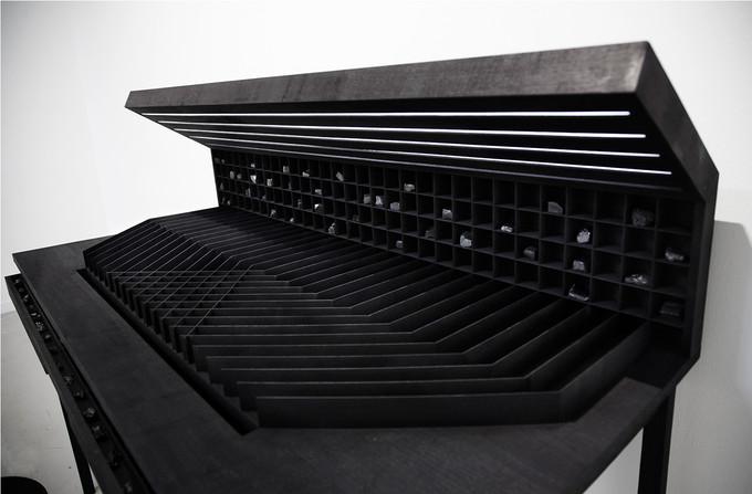 Workspace II, 114 x 65 x 118cm, walnut wood, black ink, light, coal, 2016