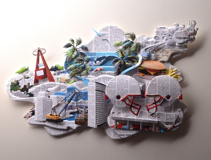 Paper sculptures for the newspaper