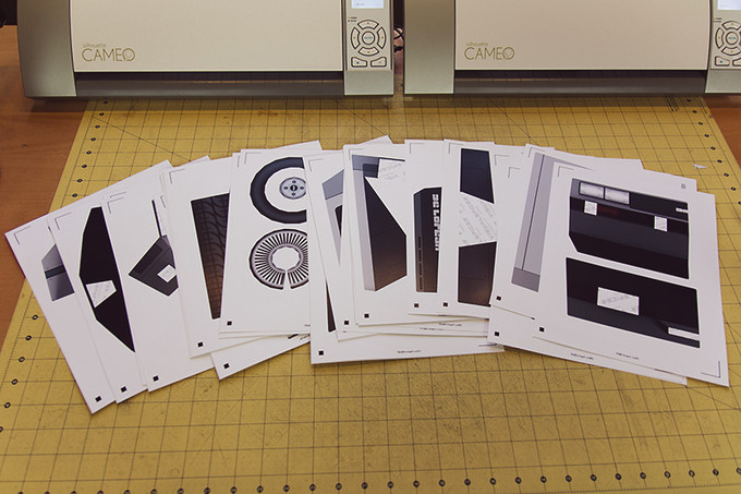 Time Machine templates printed and ready to cut.