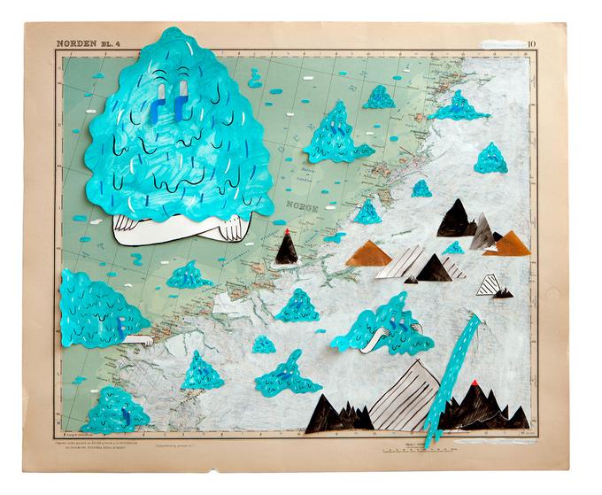 눈물 범벅이의 홍수 Floods of Tears ( 2013 )484 x 400 mm / acrylics, gouaches, collage on old map