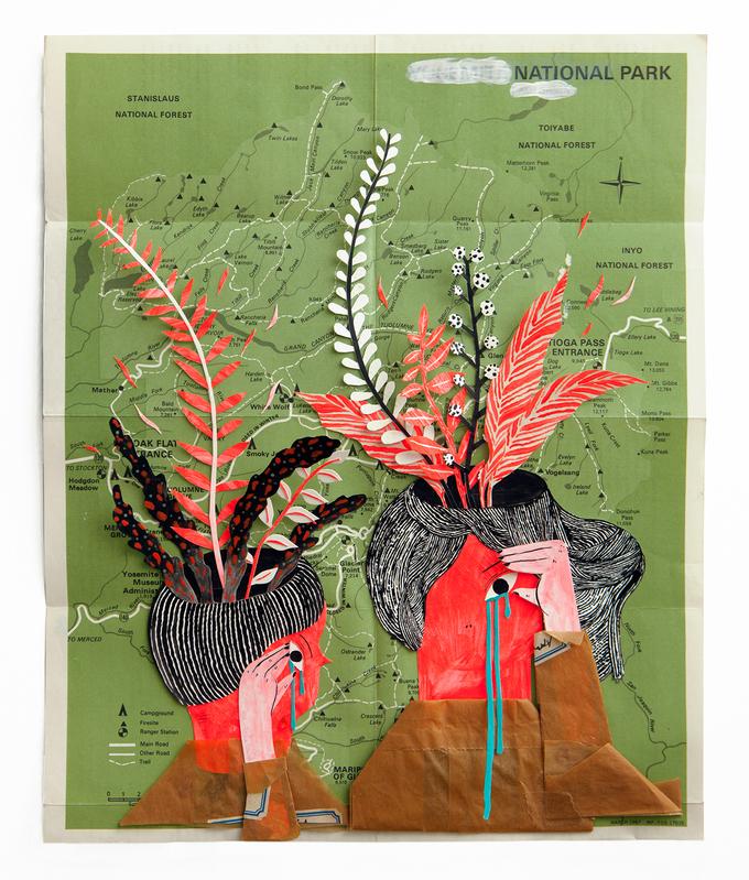 열불이의 분출 Anger Eruptions( 2013 )284x 343 mm / acrylics, gouaches, collage on old map