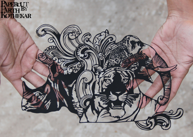 Papercut Art - Indian 500 rupees note