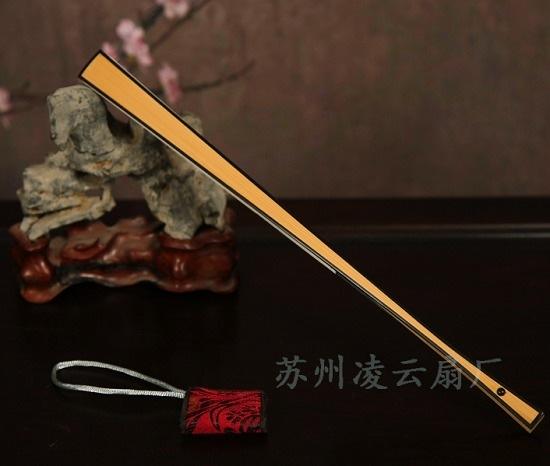 9寸直方玉竹嵌红木折扇 - 盛风苏扇