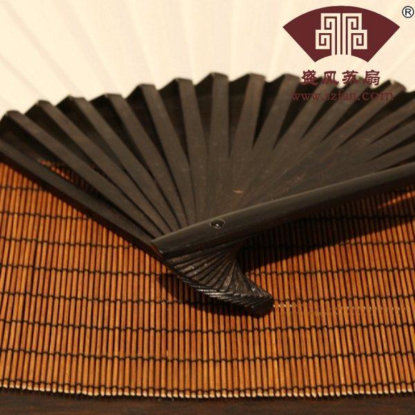 竹扇子苏工嵌梅鹿折扇 - 盛风苏扇