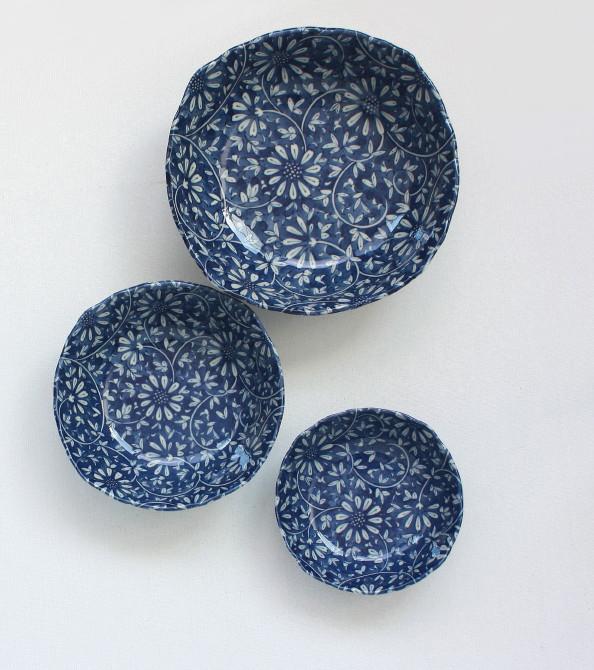 日本製 菊花蓝彩四角盆(3種規格)